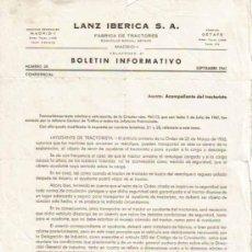 Coches y Motocicletas: LANZ IBÉRICA S.A. FÁBRICA DE TRACTORES BOLETÍN INFORMATIVO Nº 38 CONFIDENCIAL (SEPTIEMBRE 1961). Lote 26726403