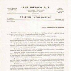Coches y Motocicletas: LANZ IBÉRICA S.A. FÁBRICA DE TRACTORES BOLETÍN INFORMATIVO Nº 38 CONFIDENCIAL (SEPTIEMBRE 1961). Lote 26860930