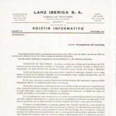 Coches y Motocicletas: LANZ IBÉRICA S.A. FÁBRICA DE TRACTORES BOLETÍN INFORMATIVO Nº 38 CONFIDENCIAL (SEPTIEMBRE 1961). Lote 26966788