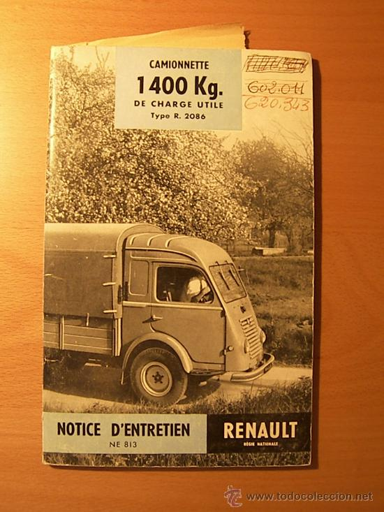 CATALOGO RENAULT FURGONETA R-2086 MODELO DEL AÑO 1958 (Coches y Motocicletas Antiguas y Clásicas - Catálogos, Publicidad y Libros de mecánica)