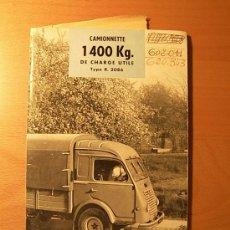 Coches y Motocicletas: CATALOGO RENAULT FURGONETA R-2086 MODELO DEL AÑO 1958. Lote 21476702