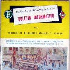 Coches y Motocicletas: BOLETIN INFORMATIVO DE TRANSPORTES DE BARCELONA - ABRIL 1967 - SIN NÚMERO . Lote 26922713