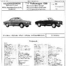 Coches y Motocicletas: VW-VOLKSWAGEN KARMANN GHIA - FICHA DE CARACTERÍSTICAS TÉCNICAS - EN ALEMÁN. Lote 100397376