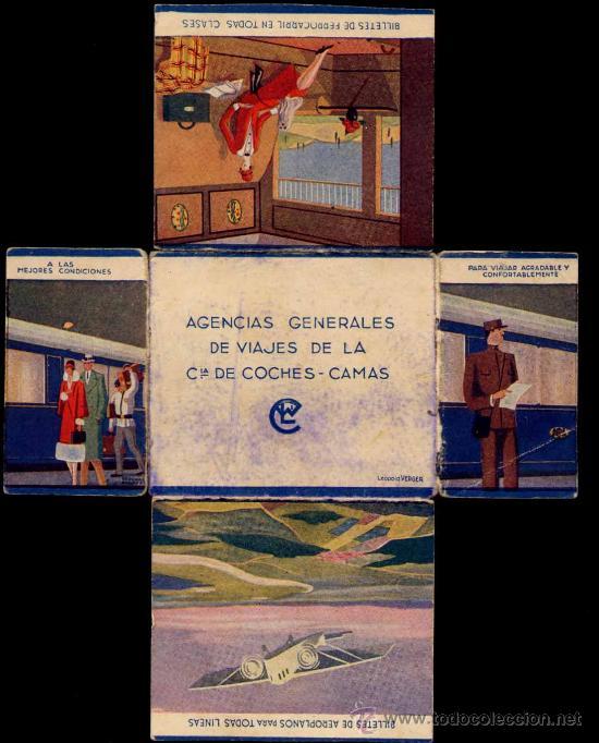 PUBLICIDAD DE LOS AÑOS 30, DE LA AGENCIA GENERAL DE VIAJES DE LA COMPAÑIA DE COCHES CAMAS (Coches y Motocicletas Antiguas y Clásicas - Catálogos, Publicidad y Libros de mecánica)