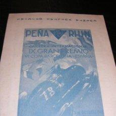 Coches y Motocicletas - PROGRAMA PEÑA RHIN 1948 , FOLLETO DE CUENTA VUELTAS OFICIAL, CIRCUITO DE PEDRALBES - 14992403