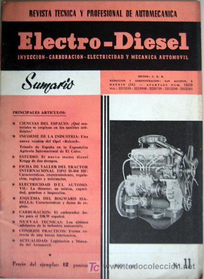 REVISTA TÉCNICA ELECTRO - DIESEL, Nº 11 - MAYO 1961- TEXTO EN ESPAÑOL. (Coches y Motocicletas Antiguas y Clásicas - Catálogos, Publicidad y Libros de mecánica)