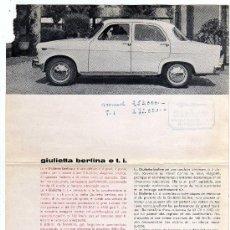 Coches y Motocicletas: CATALOGO ALFA ROMEO GIULIETTA BERLINA E TI , . Lote 15445618
