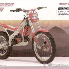 Coches y Motocicletas: FOLLETO PUBLICITARIO MOTO TRIAL MONTESA COTA 311 1 HOJA CARACTERISTICAS 311 310 EVASION TECNICAS. Lote 15880285