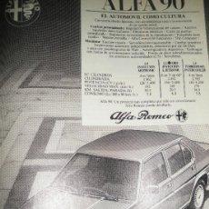 Coches y Motocicletas: PUBLICIDAD DEL ALFA 90 Y ALFA 33. ALFA ROMEO.. Lote 15992211