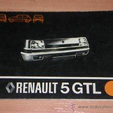 Coches y Motocicletas: RENAULT 5 GTL - MANUAL USUARIO ORIGINAL - 1978 - ESPAÑOL. Lote 17015507