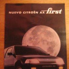 Coches y Motocicletas: CITROEN AX FIRST.CATÁLOGO ORIGINAL.AÑO 1994.ESPAÑOL.. Lote 18189775