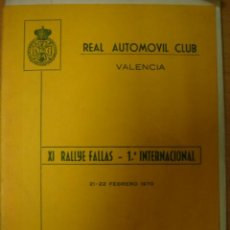 Coches y Motocicletas: PROGRAMA OFICAL XI RALLYE FALLAS INTERNACIONAL 21 22 FEBRERO 1970 REAL AUTOMOVIL CLUB VALENCIA. Lote 19803996