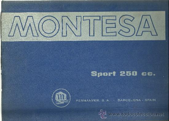 MONTESA SPORT 250 CC PERMANYER SA BARCELONA SOLO PARA MECANICOS ORIGINAL (Coches y Motocicletas Antiguas y Clásicas - Catálogos, Publicidad y Libros de mecánica)