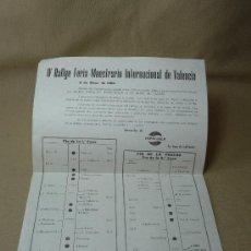 Coches y Motocicletas: PUBLICIDAD, PROGRAMA, IV RALLYE FERIA MUESTRARIO INTERNACIONAL, VALENCIA, MAYO 1966, PEPSI COLA. Lote 20234556