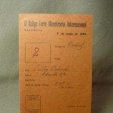 Coches y Motocicletas: FICHA, MATRICULA, IV RALLYE FERIA MUESTRARIO INTERNACIONAL, VALENCIA, MAYO 1966. Lote 20234580