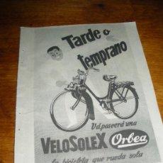 Coches y Motocicletas: PUBLICIDAD DE VELOSOLEX ORBEA.. Lote 146147421