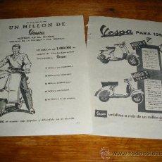 Coches y Motocicletas: PUBLICIDAD DE VESPA. MODELO N 125 CC Y MODELO S 125 CC. 1956 Y 1957.. Lote 22779256