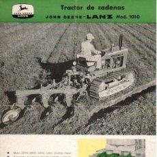Coches y Motocicletas: FOLLETO PUBLICIDAD Y CARACTERÍSTICAS DEL TRACTOR DE CADENAS JOHN DEERE - LANZ MODELO 1010 - 1962. Lote 26826999