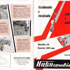 Coches y Motocicletas: FOLLETO DESPLEGABLE DE PUBLICIDAD Y CARACTERÍSTICAS MOTO AZADA MOTOCULTOR HAKO COMBINETTE TRACTORES . Lote 27307166