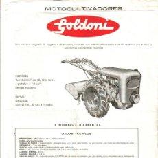 Coches y Motocicletas: FOLLETO PUBLICIDAD DISTRIBUIDOR FAS DE TRACTORES MOTOCULTIVADORES GOLDONI TRACTOR. Lote 27307168