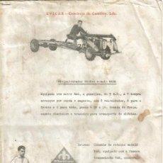 Coches y Motocicletas: FOLLETO PUBLICIDAD DISTRIBUIDOR EVICAR CARACTERISTICAS DE TRACTOR MOTOCULTIVADOR MOTRAC . Lote 27307169