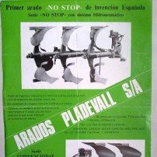 Coches y Motocicletas: FOLLETO PUBLICIDAD Y CARACTERISTICAS DE LOS ARADOS PLADEVALL S.A. PARA TRACTOR. Lote 27252201