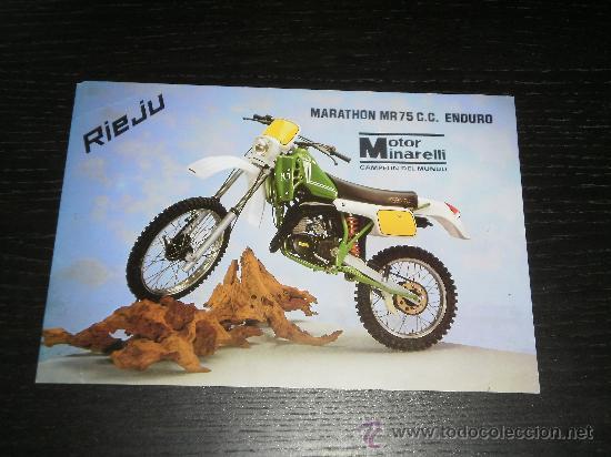 RIEJU MARATHON MR 75 - CATALOGO FOLLETO PUBLICIDAD ORIGINAL - ESPAÑOL (Coches y Motocicletas Antiguas y Clásicas - Catálogos, Publicidad y Libros de mecánica)
