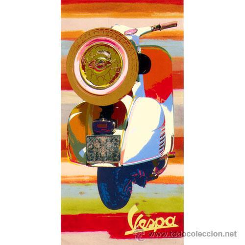 VESPA. CUADRO POP ART VERTICAL HECHO EN TABLA DE 100 X 50 CM. MUY EXCLUSIVO. (Coches y Motocicletas Antiguas y Clásicas - Catálogos, Publicidad y Libros de mecánica)
