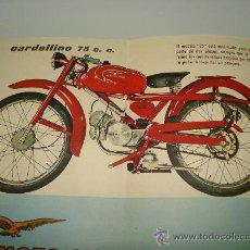 Coches y Motocicletas: CATOLOGO DESPLEGABLE DE LA MOTO CARDELLINO 75 DE MOTO GUZZI HISPANIA. AÑO 1960S.. Lote 26770255
