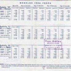 Coches y Motocicletas: CATALOGO DE LOS MODELOS 1964 VESPA -SCOTER CONCESIONARIO MATEU DE BARCELONA. Lote 24883483