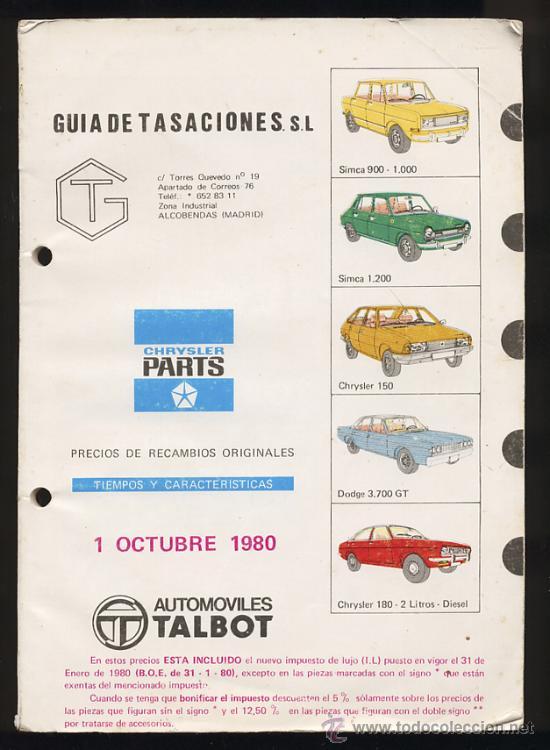 GUIA DE TASACIONES RECAMBIOS SIMCA CHRYSLER 1980 (Coches y Motocicletas Antiguas y Clásicas - Catálogos, Publicidad y Libros de mecánica)