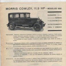 Coches y Motocicletas: MORRIS MINOR Y COWLEY. PUBLICIDAD DE LOS MODELOS EN ESPAÑOL. AÑOS 30. . Lote 24913127