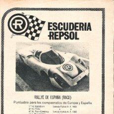 Coches y Motocicletas: PUBLICIDAD, ANUNCIO ESCUDERIA REPSOL. Lote 27458581