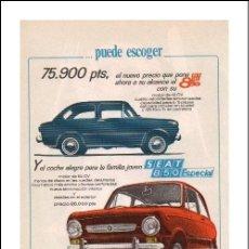 Coches y Motocicletas: PUBLICIDAD ANTIGUA. COCHES. SEAT 850. SEAT 850 ESPECIAL. 1968.. Lote 27689279