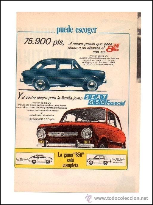 PUBLICIDAD ANTIGUA. COCHES. SEAT 850. SEAT 850 ESPECIAL. 1968. HOJA COMPLETA DE REVISTA. (Coches y Motocicletas Antiguas y Clásicas - Catálogos, Publicidad y Libros de mecánica)