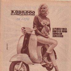Coches y Motocicletas: PUBLICIDAD ANTIGUA. MOTOS. LAMBRETTA. 1963. HOJA COMPLETA.. Lote 27769211