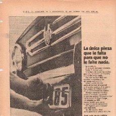Coches y Motocicletas: PUBLICIDAD ANTIGUA. COCHES. SEAT 850. 1970.. Lote 27775274