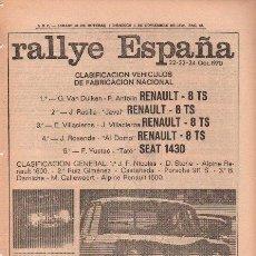 Carros e motociclos: PUBLICIDAD ANTIGUA. COCHES. RENAULT. RALLYE ESPAÑA. 1970.. Lote 27775385