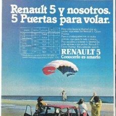 Coches y Motocicletas: HOJA PUBLICIDAD ANUNCIO DE RENAULT 5 5 PUERTAS. Lote 27775932