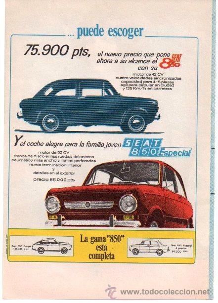 PUBLICIDAD ANTIGUA. COCHES. SEAT 850. SEAT 850 ESPECIAL. 1968. (Coches y Motocicletas Antiguas y Clásicas - Catálogos, Publicidad y Libros de mecánica)