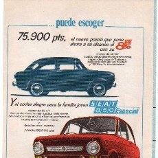 Coches y Motocicletas: PUBLICIDAD ANTIGUA. COCHES. SEAT 850. SEAT 850 ESPECIAL. 1968.. Lote 27818707