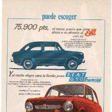 Coches y Motocicletas: PUBLICIDAD ANTIGUA. COCHES. SEAT 850. SEAT 850 ESPECIAL. 1968.. Lote 27818715