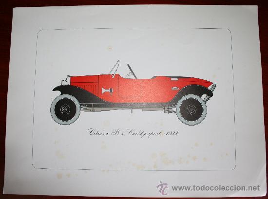 LÁMINA - CITROEN B 2 CADDY SPORT DE 1922 - APROX. 40 X 30 CM * (Coches y Motocicletas Antiguas y Clásicas - Catálogos, Publicidad y Libros de mecánica)