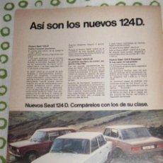 Coches y Motocicletas: QUEX - PUBLICIDAD AUTOMOVIL COCHES CLASICOS - ANUNCIO COCHE SEAT 124 D. Lote 28396119