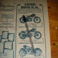 Coches y Motocicletas: PUBLICIDAD DE MOTOS LUBE NSU.. Lote 28866673