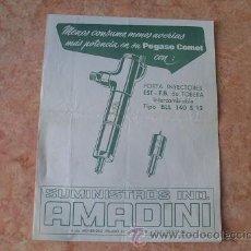Coches y Motocicletas: FOLLETO PUBLICITARIO PORTA INYECTORES PARA PEGASO COMET,SUMINISTROS IND. AMADINI,MADRID,AÑOS 60. Lote 29812283