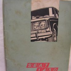 Coches y Motocicletas: SEAT 1430 MANUAL DE USO Y ENTRETENIMIENTO 1ª EDICCIÓN ABRIL 1969. Lote 30046903