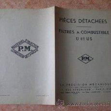 Coches y Motocicletas: CATALOGO PIEZAS REPUESTOS FILTROS COMBUSTIBLES TIPOS U Y US,PRECISION MECANIQUE,FRANCIA,AÑOS 40,FRAN. Lote 30125296