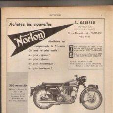 Coches y Motocicletas: NORTON 350 Y 600: ANUNCIO PUBLICITARIO DE 1957. Lote 30427346