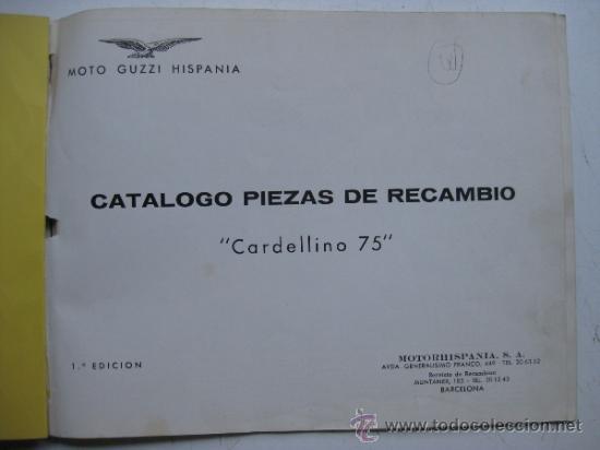 Coches y Motocicletas: CATALOGO DE MOTO GUZZI HISPANIA, CARDELLINO 75 - 1ª EDICION - AÑOS 1960 - Foto 2 - 30735918